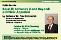 Public Lecture by Professor Dr. Paul Embrechts on Thursday, October 20, 2016.